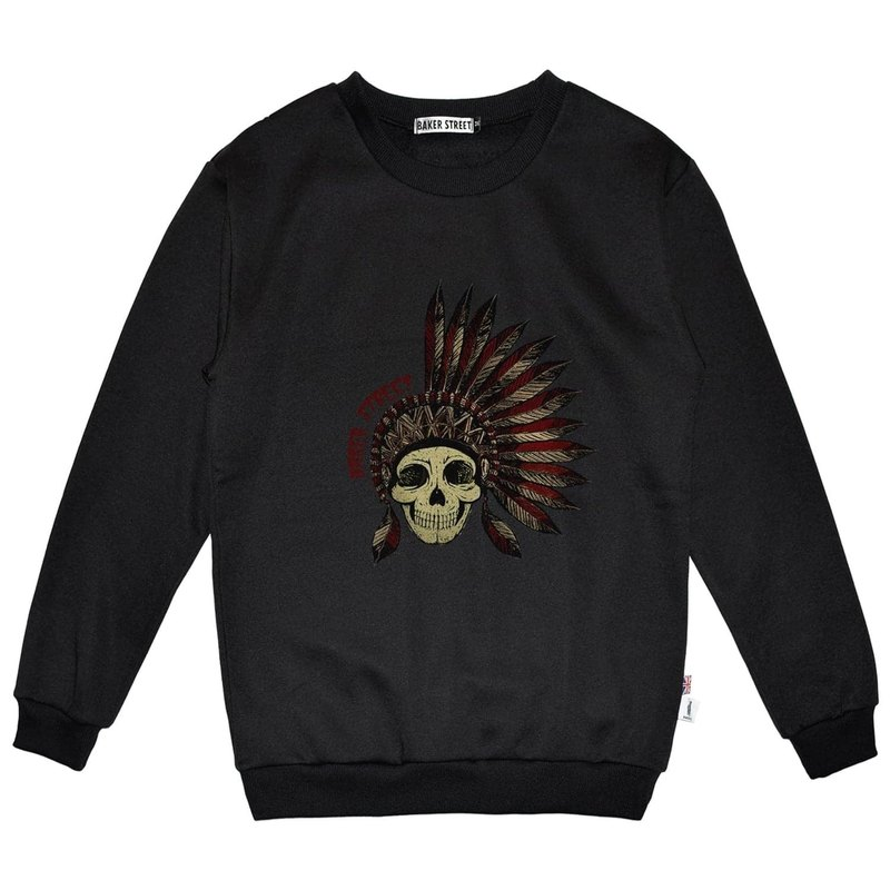 British Fashion Brand -Baker Street- Indian Skull Printed Sweater
