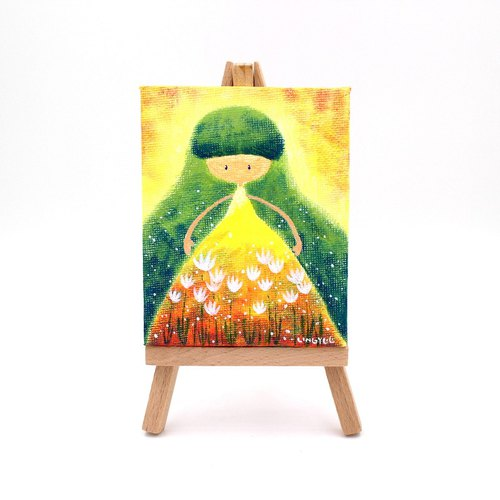 [Hugo] Fu Cha Ling children ‧ mini paintings (with easel)