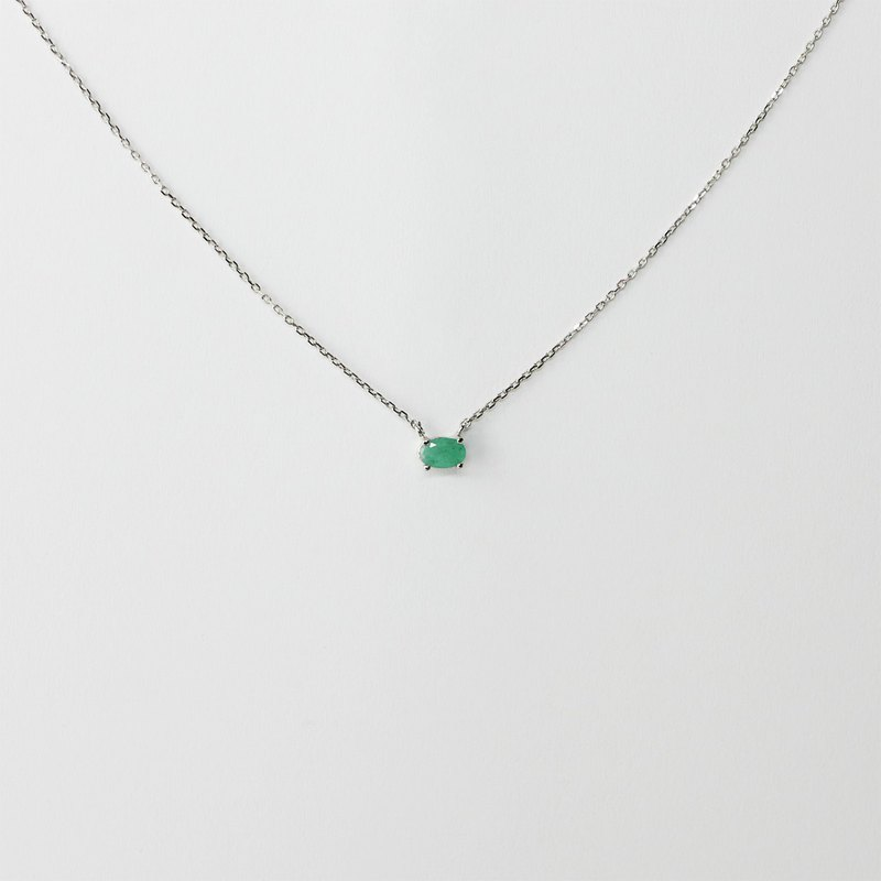 [Lalune] green tree shadow single natural emerald 925 sterling silver simple fine necklace
