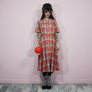 (Vintage dress) pink chrysanthemum khaki plaid Japanese vintage dress (birthday gift) F3221