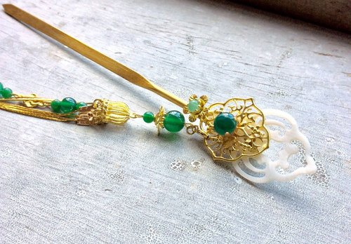 Miao hand ~ Chinese style double sided sword agate hairpin / green agate / gold (brass color)