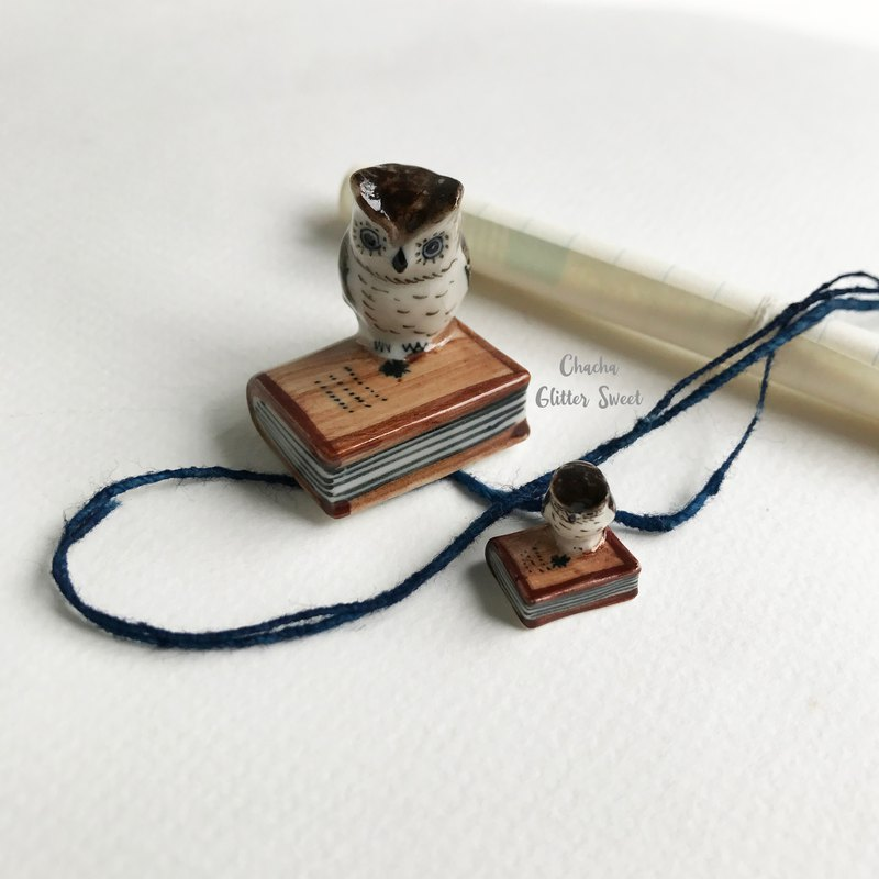 Owl tiny book-twin tiny animal figurine