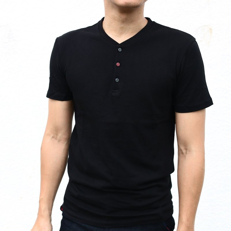 Cat Eye Button Henry Collar Short Sleeve Tshirt - Black