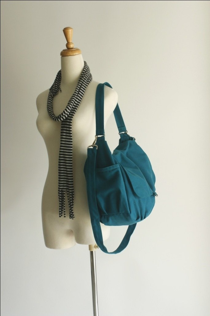 Teal Canvas messenger bag/ Travel bag/ Diaper shoulder bag - no.18 DANIEL