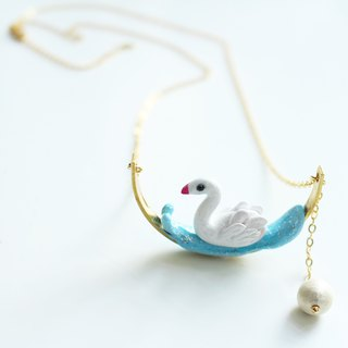 Swan necklace - polymer clay handmade necklace