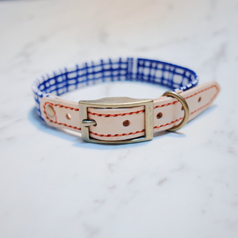 Dog collars, M size, Urban blue check design_DCJ090451