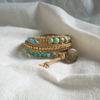 Natural stone woven bracelet - green / three ring emperor stone turquoise custom goods