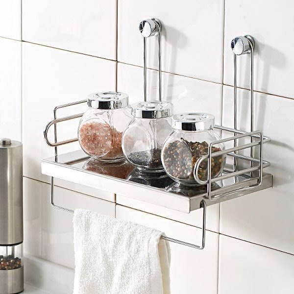 Stainless steel seasoning cans wall-mounted, plate design, good to take good, seasoning rack, kitchen rack, seasoning tank,