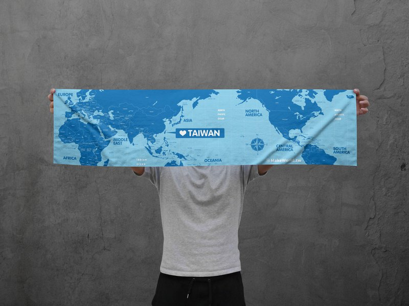 Make World map manufacturing sports towel (water blue)