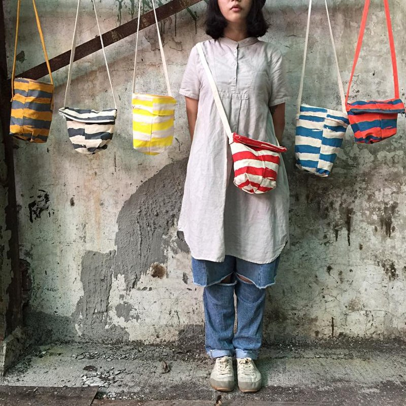 Four color stripes oblique backpack 3ways