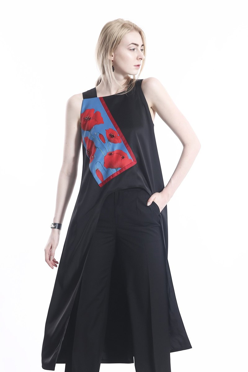 Avant Garde Black Satin Tank Top with Flower Printed Satin and Embroideried Swarovski Crystals