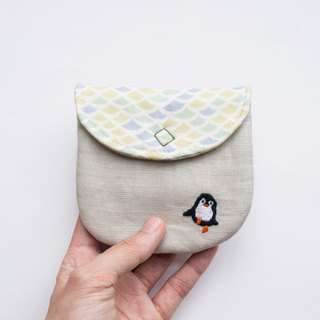 企鵝 Penguin Embroidered Linen Wee Pouch