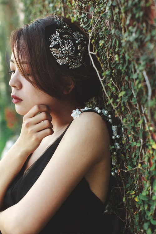 Bridal Accessories Hair Accessories Hat Embroidery Embroidery Limited Black / Starry Night