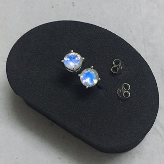 Cutting Moonstone Ear studs Handmade in Nepal 925% Silver