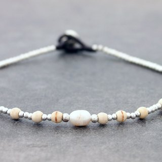 Pearl Silver Petite Anklets, Stone Beaded Woven Anklets Bracelets, Basic Casual Hipster