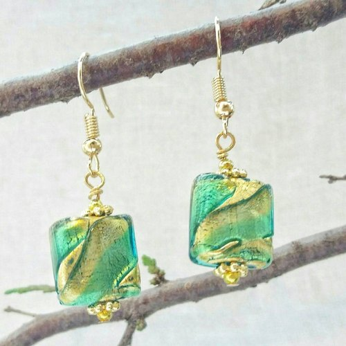 [Venice Series] gold and silver carved 4 (Gold Coast) 24K gold Italian imports Weinisimu Zambrano (Murano) glass beads handmade gold earrings ear clip can be changed