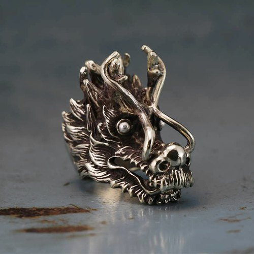 Biker Ring sterling silver skull Dragon Gothic Celtic punk black claw fighter