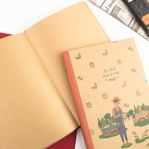 B6/32K illustration Note / Leather handwriting / Notebook / Notepad / Graffiti / Blank cowhide Inner page