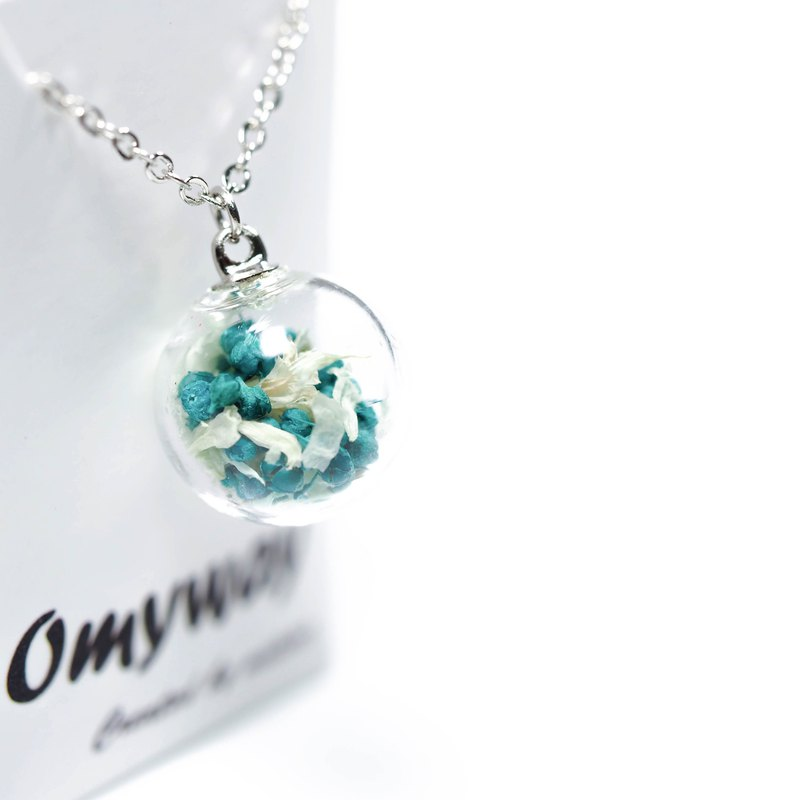 OMYWAY Handmade Dried Flower Necklace - Glass Globe Necklace