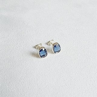 Earrings・Oval Swarovski Crystal Sea blue Sterling Silver