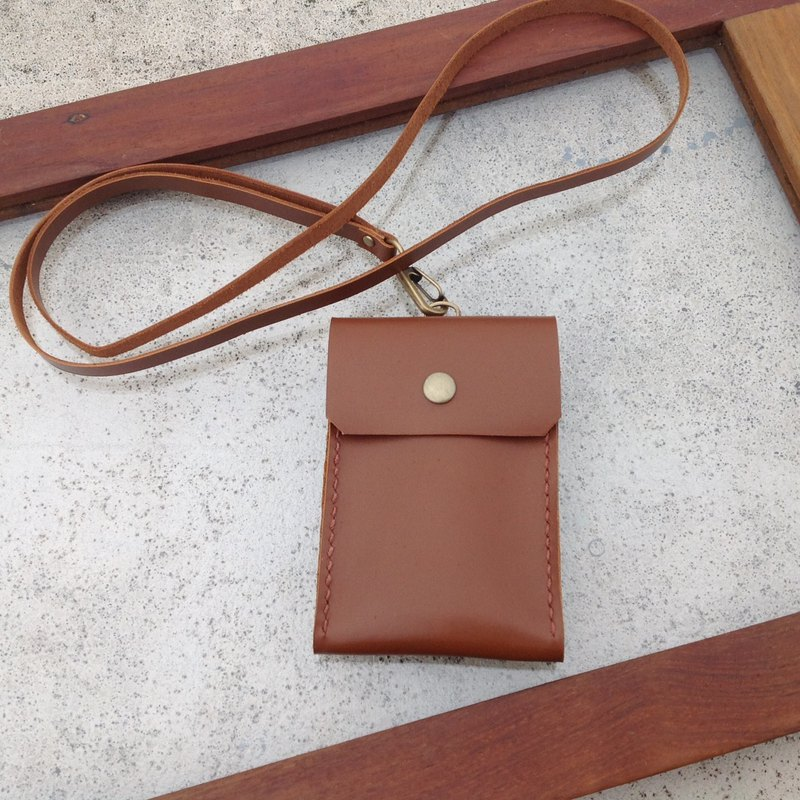 Straight identification card holder, leisure card holder, card holder, back, hand-stitched, leather caramel brown