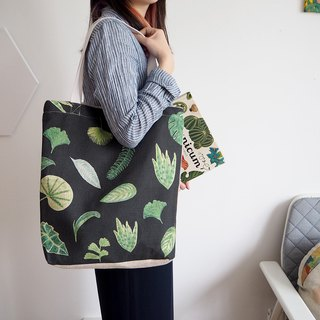 Spring and summer green Tote bag shoulder cotton bag leaf bag