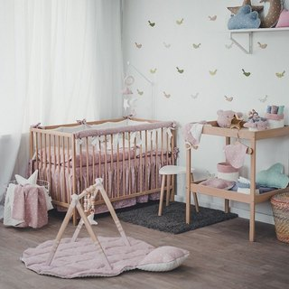 Pastel pink baby bedding set, linnen pillow and duvet cover, rail cover, bumper, bed skirt, bed sheet