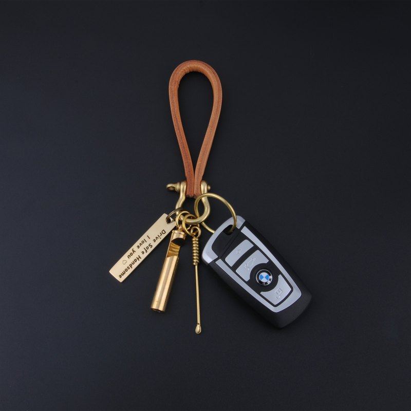 Personalized leather car keychain Ear spoon Bottle opener Whistle Customized Uni