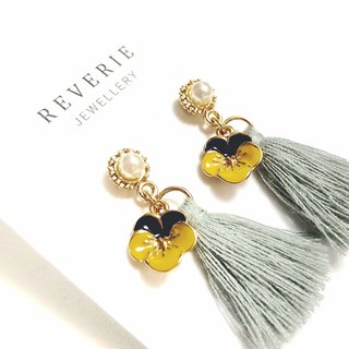 Limited Edition - Japanese Pansy Tassel Earrings