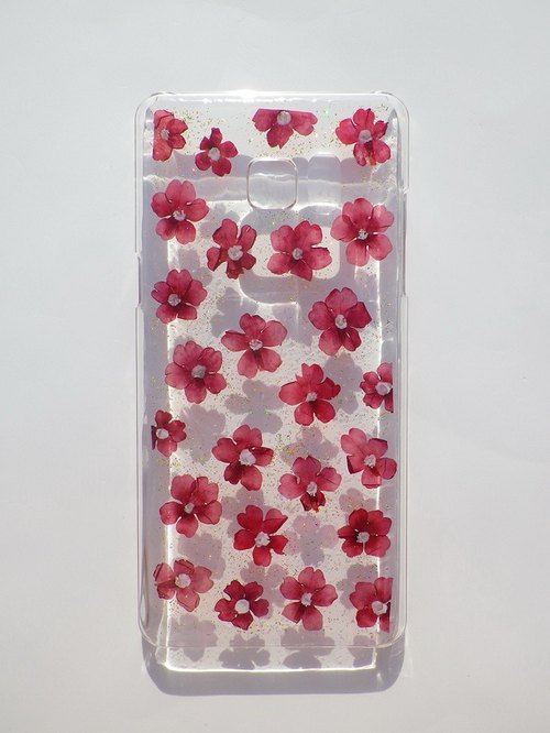 Handmade phone case, Pressed flowers phone case, Verbena hybrida