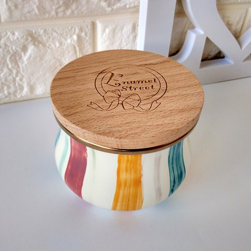 Color striped wood cover painted pot
