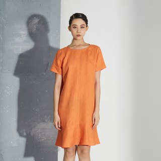 【In stock】Orange flounce dress
