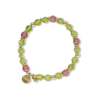 String Series Brass Strawberry Crystal Peridot Bracelet Natural Mineral Crystal