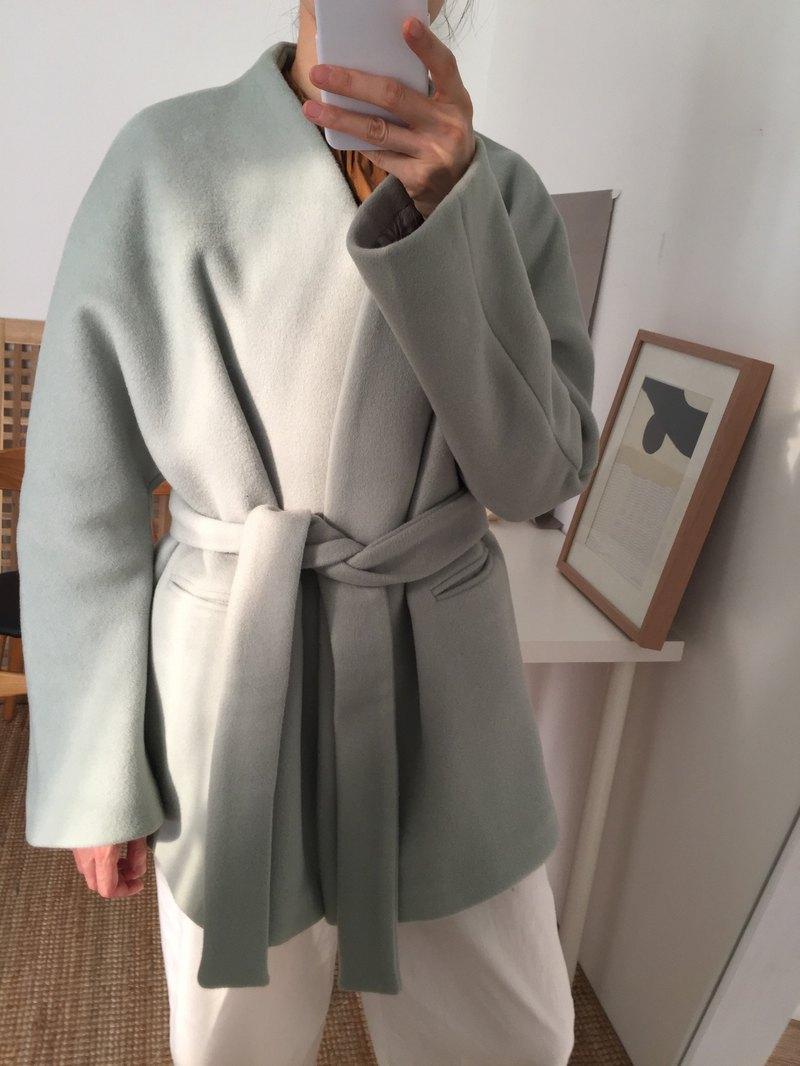Ishiji Kimono Jacket 抹茶綠和服式羊毛短大衣