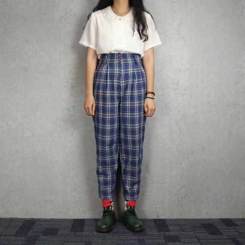 Tsubasa.Y ancient house plaid trousers 010, vintage retro plaid plaid