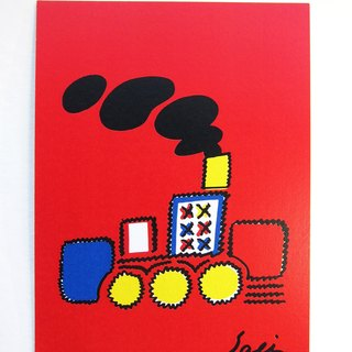 """Scared hairy train"" postcards birthday card design colored illustration Illustrated card Universal Card Art Valentine love modern art particularly interesting characteristics strange weird cute yellow Taiwan's fun eye-catching sequins flash"