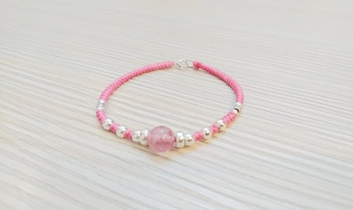 925 sterling silver wax bracelet gemstone bracelet natural strawberry crystal