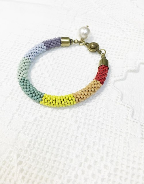 Great rainbow crocheted bracelet Summer Rainbow Crochet Bracelet (B1611JC)