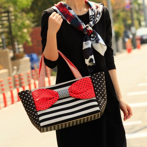 ribbon tote bag Love Comedy L size Orange dots stripes borders