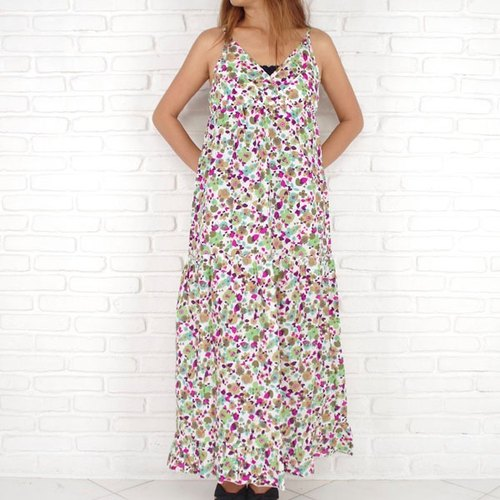 Adult cute! Garden Flower Long dress <Green Pink>