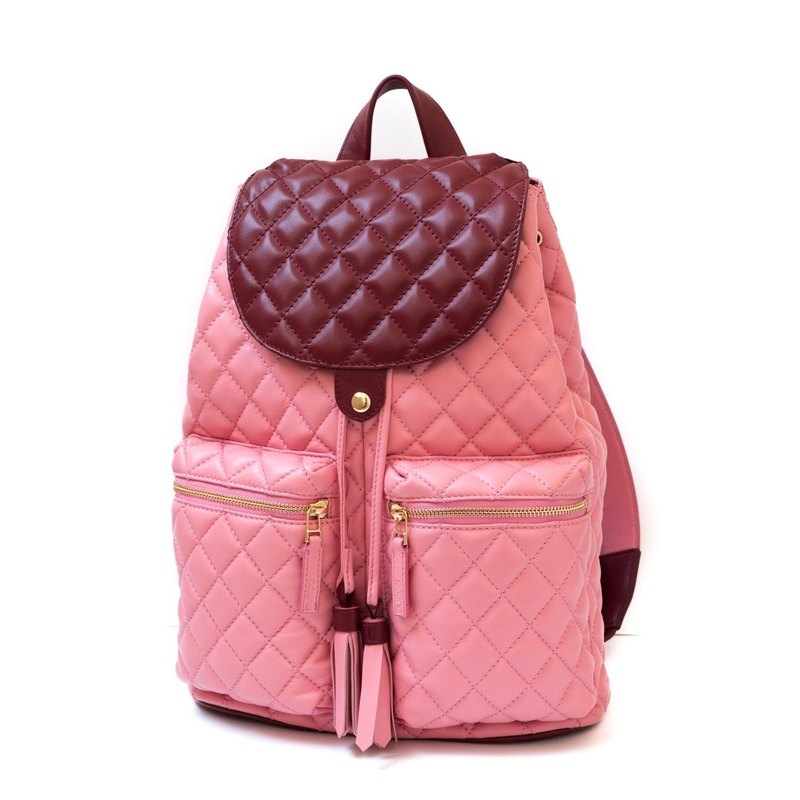 Patina leather handmade Mira-diamond checkered backpack