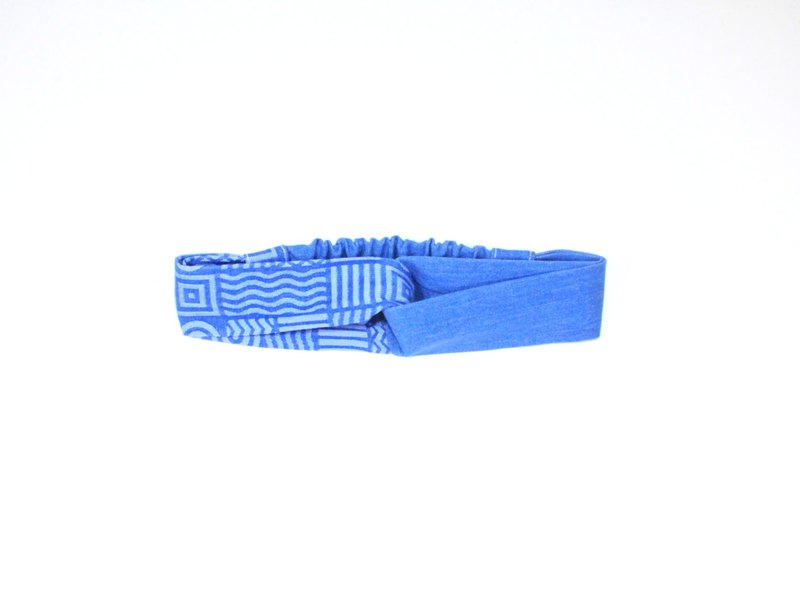 【The MAMA's Closet】Two Colors Denim Cotton (geometry) / Headband