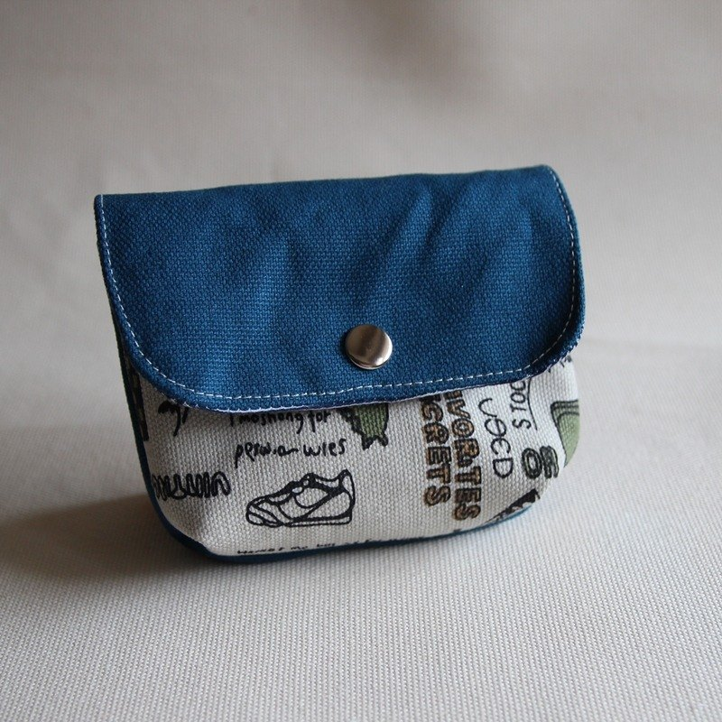 Cotton Fabric: Canvas Coin Purses, Blue canvas +Khaki canvas