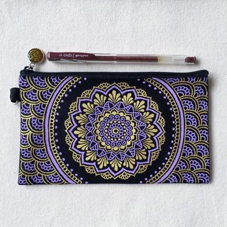 Hand Painted Henna bag Mandala bag Gold Lavender Black Pattern Zipper Pouch Coin Purse Cotton Cosmetic Bag Pencil Case Phone Wallet Hand Drawn Art