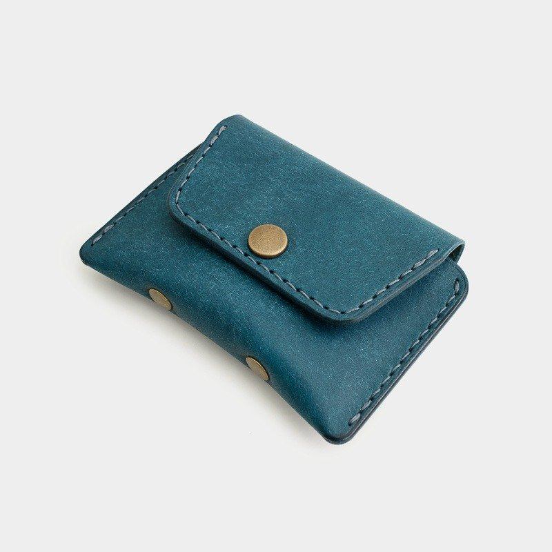 RENEW - Coin purse Italian vegetable tanned leather hand-stitched blue Ortensia card pack