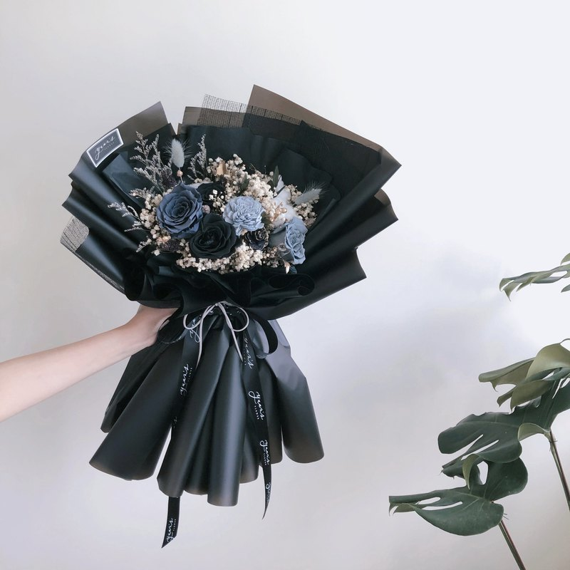 Gray blue black large bouquet men's exclusive color matching cool color texture Korean mesh bouquet dry flowers