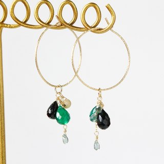 14kgf- green onyx & sapphire glitter hoop pierced earrings(can change to clip-on