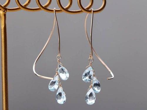 14kgf- skyblue topaz halfcurl pierced earrings