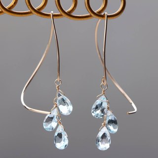 14 kgf - skyblue topaz halfcurl pierced earrings