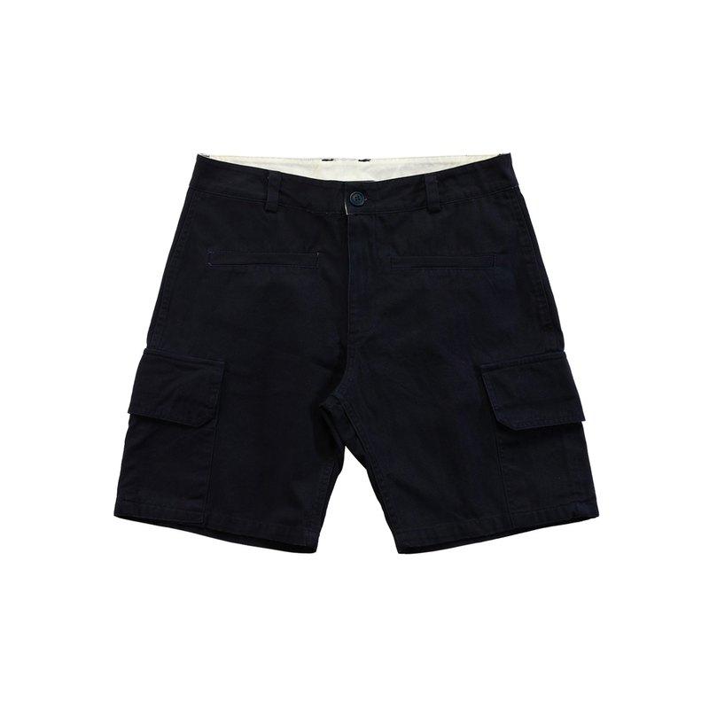 沙塵百貨‧甜筒蓋掩刺繡圖案 前袋短褲 海軍藍